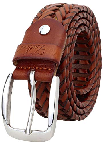 Falari Men's Braided Belt Leather Stainless Steel Buckle 35mm (9011 Light Brown, XL 42-44)