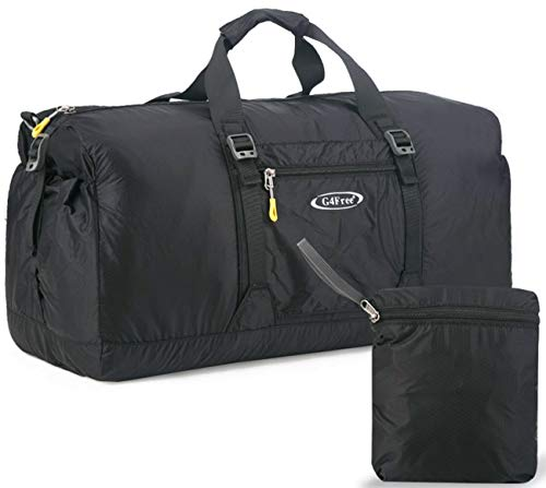 (G4Free 60L Lightweight Foldable Portable Travel Duffel Bag for Gym Sports Luggage Camping(Black))