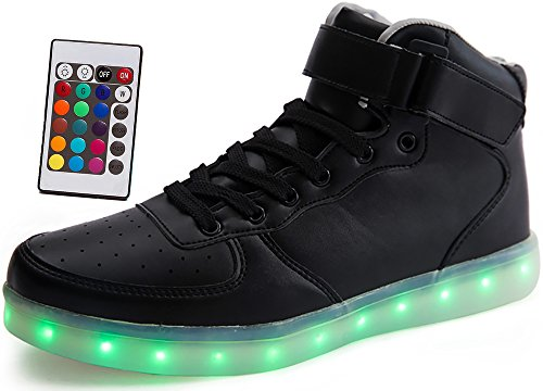 LED Light Up Shoes w/ Remote Control Unisex Adults Classic Leather Hi Sneakers Black Women 8.5 Men 6
