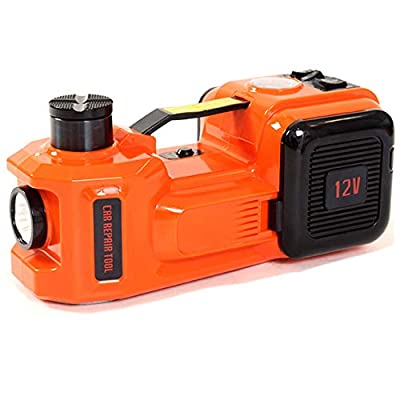 12V DC 5 Ton (11023lb) Electric Hydraulic Car Floor Jack with Tire Inflator Pump and LED Light,Portable Car Repair Tool Kit Ideal for Vehicle Repairing and Tire Replacing