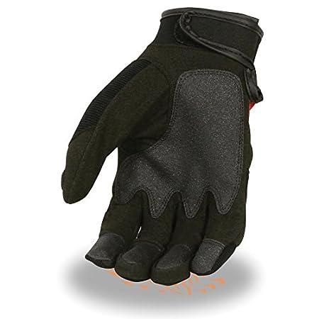 Mens Padded Knuckle Mechanics Glove w// Amara Palm Red, M