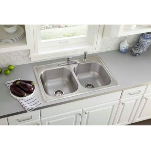 Elkay Swift Install All-in-One Drop-In Stainless Steel 33 in. 4-Hole Double Bowl Kitchen Sink