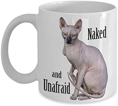Hairless Cat Mug - Sphynx Cat Coffee Mug Gift - Sphinx sitting Naked and Unafraid like a statue