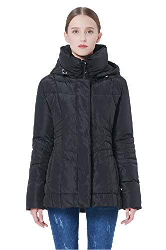Orolay Women's Short Down Coat Winter Jacket with Removable Hood Black L