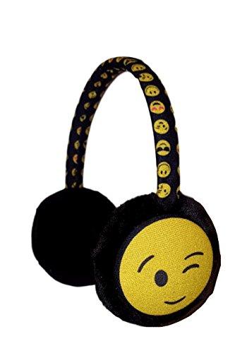 Girls Earmuff (Kids Plush Icon Face Earmuffs Ear Warmers Winter Ear lap (Winking))