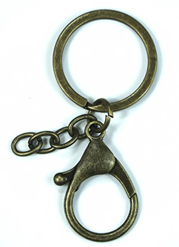 ALL in ONE Flat Split Ring and Lobster Clasps with Extension Chain for Key Ring Keychain DIY Craft (Antique Bronze)