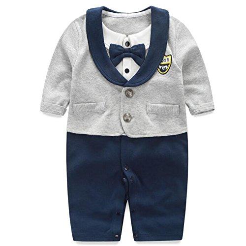 Fairy Baby Newborn Boy's Gentleman Romper Outfit With Bow Tie,6-9M,Grey (Grey Suit Tie)