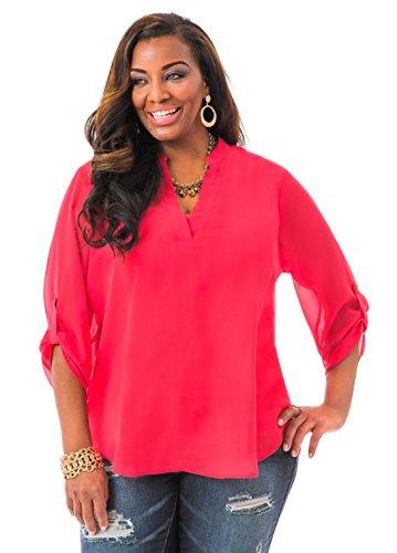 Ashley Stewart Women's Plus Size Placket Pullover - Size: 14/16, Color: Magenta