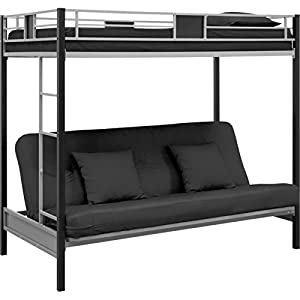 DHP Silver Screen Twin over Futon Metal Bunk Bed