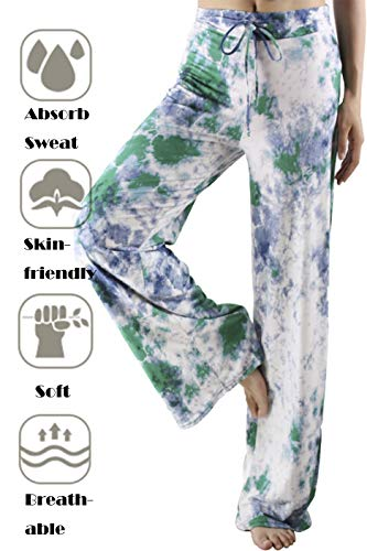 CAMPSNAIL Women's Cotton Comfy Casual Pajama Pants Floral Print Drawstring Wide Leg Lounge Pants Stretch Palazzo Sleepwear Green Printing ()