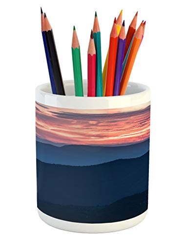 Ambesonne Appalachian Pencil Pen Holder, Landscape Photo of Sunset Over Blue Ridge Mountains in Virginia, Printed Ceramic Pencil Pen Holder for Desk Office Accessory, Coral and Dark Sky Blue