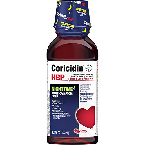 Coricidin HBP Nighttime Multi-Symptom Cold Liquid Cherry 12 oz