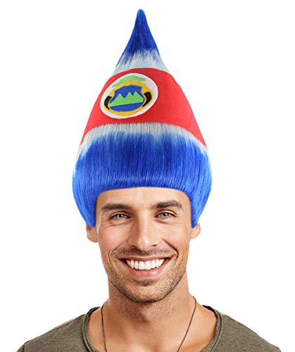 National Flag Troll Wig, Adult & Kids (Adult, Costa Rica)]()