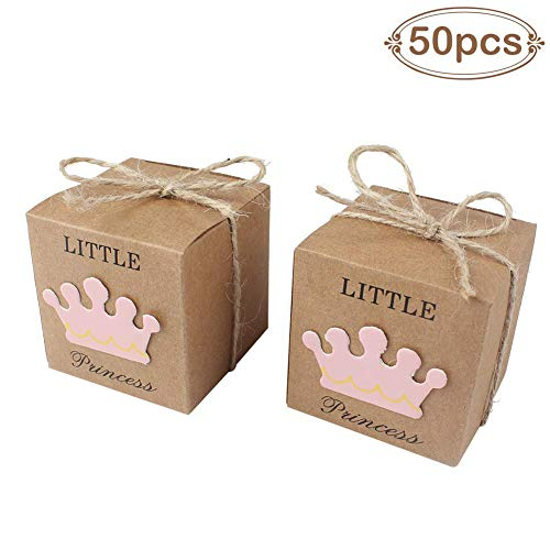 AerWo 50pcs Little Princess Baby Shower Favor Boxes + 50pcs Twine Bow, Rustic Kraft Paper Candy Bag Gift Box for Baby Shower Party Supplies Cute 1st Birthday Girl Decoration, -