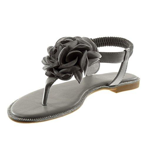 Angkorly Damen Schuhe Sandalen Flip-Flops - T-Spange - Slip-On - Knöchelriemen - Blumen - Strass Blockabsatz 1.5 cm Grau