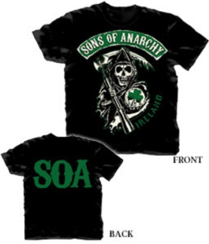 Sons Of Anarchy Ireland Irish Shamrock Reaper Officially Licensed Adult T-Shirt 3XL Adult Shamrock Tee T-shirt