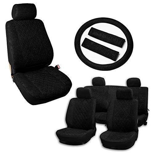 Volvo 940 Seat Belt - OCPTY Car Seat Cover, Stretchy Universal Seat Cushion W/Steering Wheel Cover/Belt Pad Breathable Automotive Accessories Washable Velvet for Most Cars(Black)