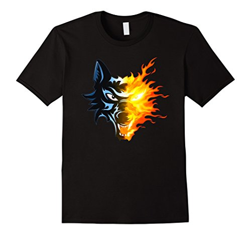 Mens Wild Wolf T-Shirt - Retro Fire Lone Black Wolf tshirt Large Black