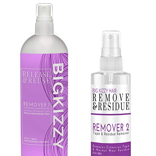 Big Kizzy Remover 1 + Remover 2 bundle, Tested & Proven Fastest & Easiest Adhesive Remover (Taking Care Of Tape In Hair Extensions)