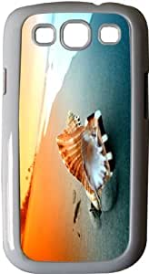 Rikki KnightTM Shell on Sand under Sunset Sky - White Hard Rubber TPU Case Cover for Samsung? Galaxy i9300 Galaxy S3