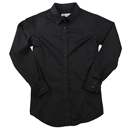 Black Cotton Shirt Dress (Women's 100% Cotton Classic Long Sleeve Shirt (Black, Medium))