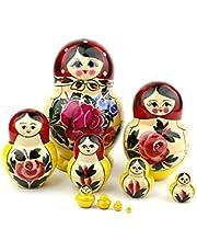 Russische nestpoppen, 10 traditionele Matryoshka klassieke Semyonov rode stijl | Houten pop cadeau speelgoed, met de hand gemaakt in Rusland