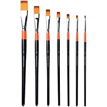 MEEDEN Flat Paint Brushes Set Short Handle Golden Nylon for Oil Acrylics Watercolor and Gouache Color Painting , 7-Piece