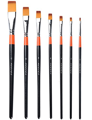 Paint Wall Brush - MEEDEN Flat Paint Brushes Set Short Handle Golden Nylon for Oil Acrylics Watercolor and Gouache Color Painting , 7-Piece