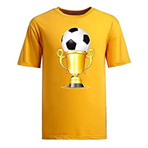 Custom Mens Cotton Short Sleeve Round Neck T-shirt, Printed with World Cup Images yellow