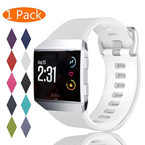 KingAcc Compatible Replacement Bands for Fitbit Ionic, Soft Silicone Fitbit Ionic Band with Metal Buckle Fitness Wristband Strap Women Men (1-Pack, White, Small)