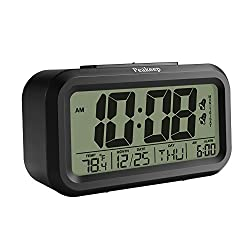 Peakeep Battery Digital Alarm Clock with 2 Alarms for Optional Weekday Mode,Snooze, Night Light (Black)