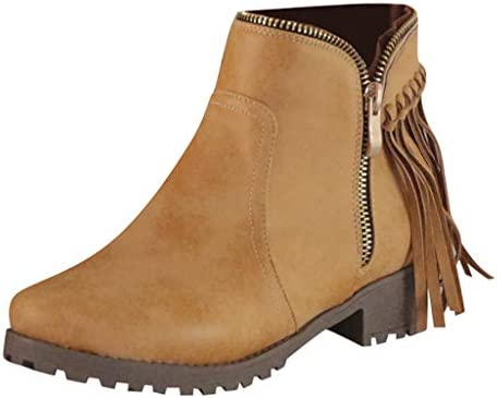AG&T Botas Cortas para Las Mujeres Planas, Zapatos de Punta ...