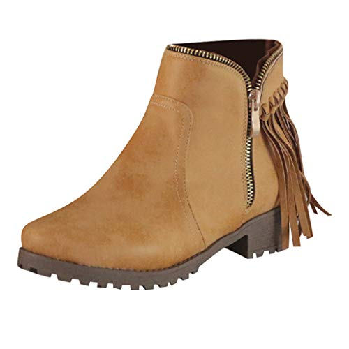 Clearance! Swiusd Women's Tassel Short Boots Retro Zipper Pointed Toe Roman Single Shoes Comfy Low Heel Non Slip Loafer Sandals (Brown, 8)