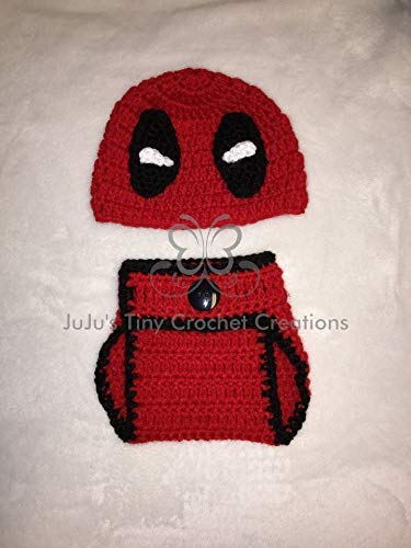 Deadpool Disney Marvel Inspired Baby Newborn Outfit Photo Prop - Halloween Costume - Baby Shower Gift - Photo Prop - Captain America - Avengers - Disney - Superhero - DC - Marvel - Baby Boy