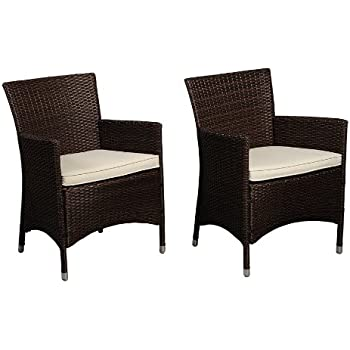 Atlantic Liberty Deluxe Wicker Armchair, Brown, Set Of 2