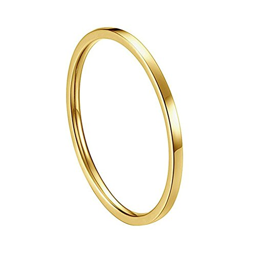 INRENG Women's Stainless Steel 1MM Thin Plain Midi Stacking Ring Band Comfort Fit Gold Size 6