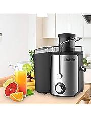 Extracteur de Jus, Homever 65MM Bouche Centrifugeuse Extracteur de Jus de Fruits et Légumes, en Acier Inoxydable de Qualité Alimentaire, Sans BPA