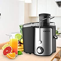 Homever Fruits and Vegetables, Centrifugal Juice Cup, 65mm Wide Mouth High, BPA-Free Stainless Steel Dual Speed Juicer, Anti-drip Function