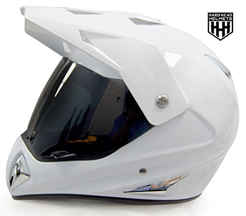 SmartDealsNow - HHH DOT ADULT Helmet for Dirtbike ATV Motocross MX Offroad Motorcyle Street bike Snowmobile HELMET with VISOR (Medium, Gloss White) (With Atv Visor Helmet)