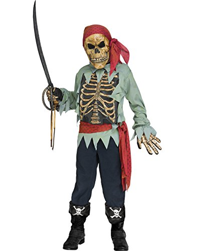 (Fun World 132462M Kid's Skeleton Pirate Children's Costume, Medium,)