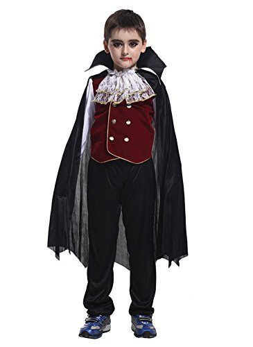 Kalanman Children Boys Halloween Dress Up & Role Play Costume Medieval Prince King Warrior Outfit (M(Fit for 4-6 Age), Vampire Prince 38) ()