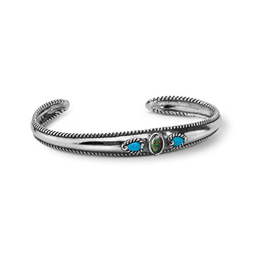 Carolyn Pollack Sterling Silver Sleeping Beauty Turquoise and Opal Cuff Bracelet Size Medium