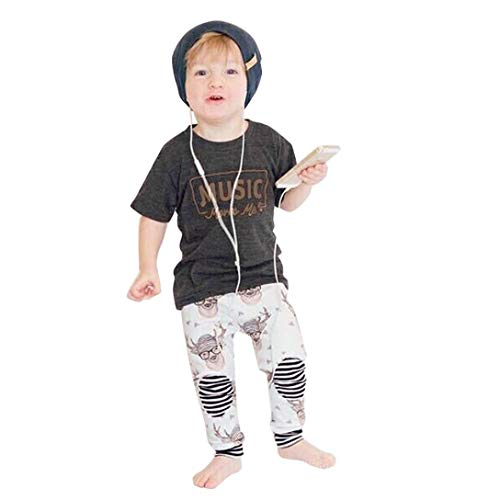 Sikye 2Pcs Toddler Set,Kids Baby Shortsleeve Tee Shirt Music Moves Me Blouse Top + Deer Head Pants Clothes Set (Gray, 3T)]()