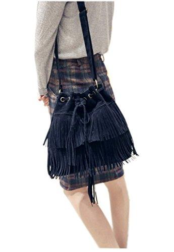 BACKSPORT Damen Umhängetasche Schultertasche Damentasche Beuteltasche Shopper mit Quaste Retro (#B Schwarz)