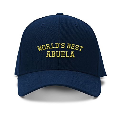 Worlds Best Abuela Grandmother Embroidery Embroidered Structured Hat Cap Navy (Best Grandma Womens Cap)