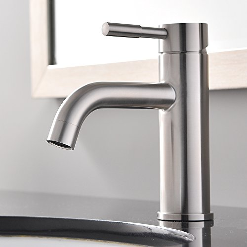Shaco Commercial Widespread Restaurant Home Single Handle Single Hole Brushed Nickel Lead-Free Copper Lavatory Laundry Tub Basin Bathroom Faucet,Vessel Sink Faucet (Single Handle Bath Faucet compare prices)