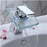 Auralum Robinet de salle de bain cascade avec LED RGB changement de couleurdans le verre du robinet