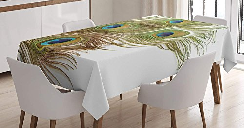- CHARMHOME Peacock Cotton Linen Tablecloth, Dining Room Kitchen Rectangular Table Cover 60(W) X104(L) inchInch, Macro Peacock Tail Feather Like Third Eyes Vitality New Life Path Awakening Print