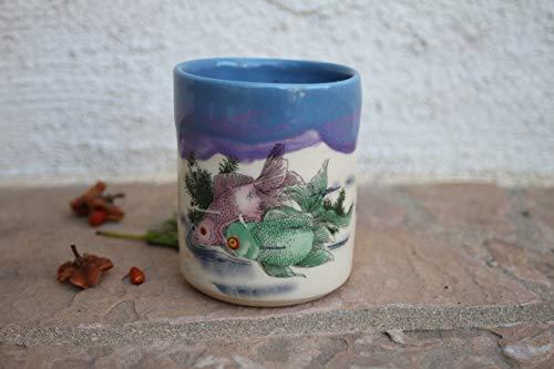 Blue and Purple Koi Fish Clay Cup, handmade ceramic dinnerware