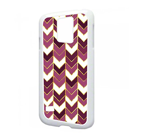 Purple Gilded Print Chevrons- TM Samsung Galaxy s5 i9600 Dual Protective White Plastic with Tough Soft Inner Black Rubber Lining Phone Case Made in the USA